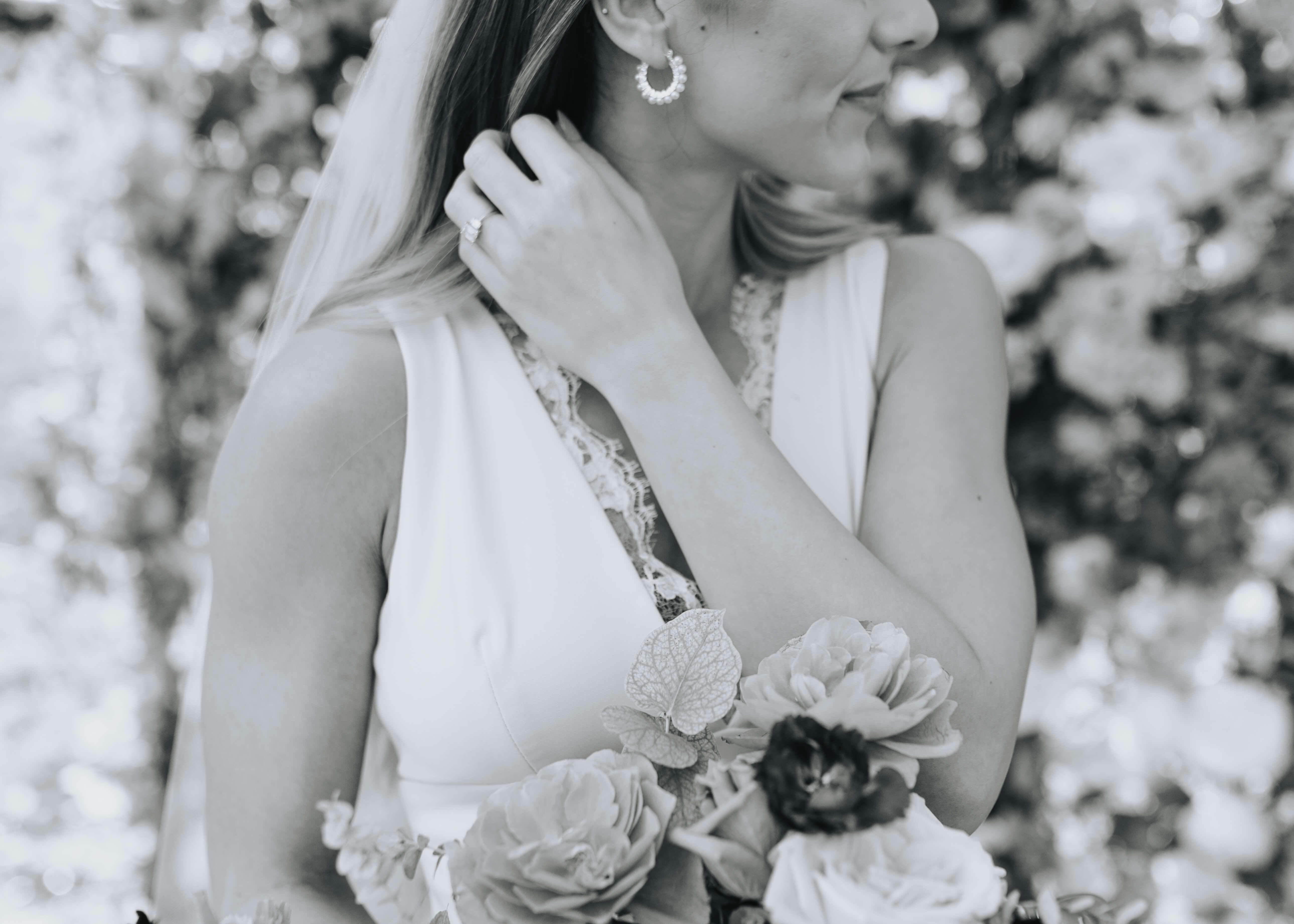 bride earrings detail shot