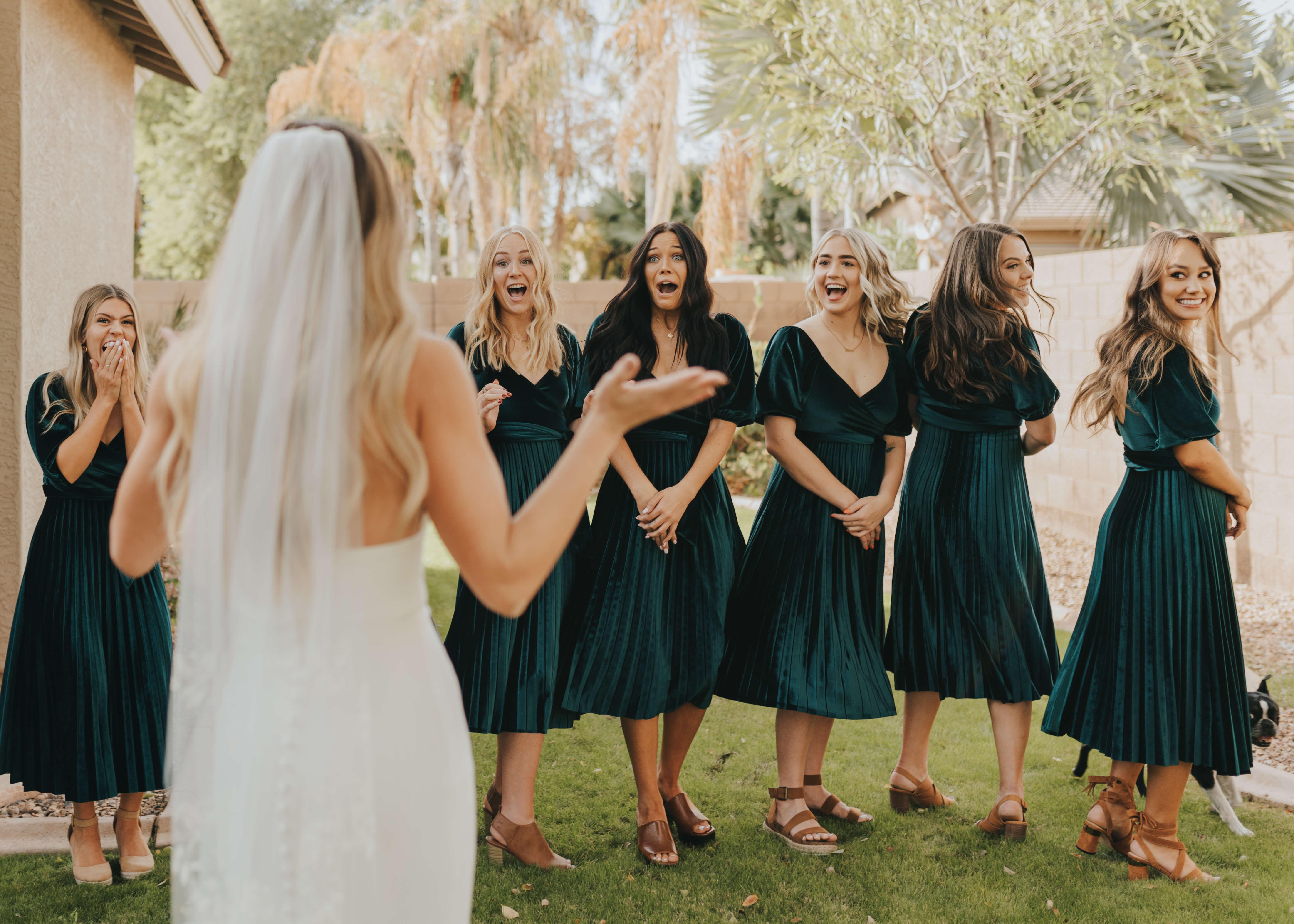 bridesmaid wedding dress reveal happy pictures