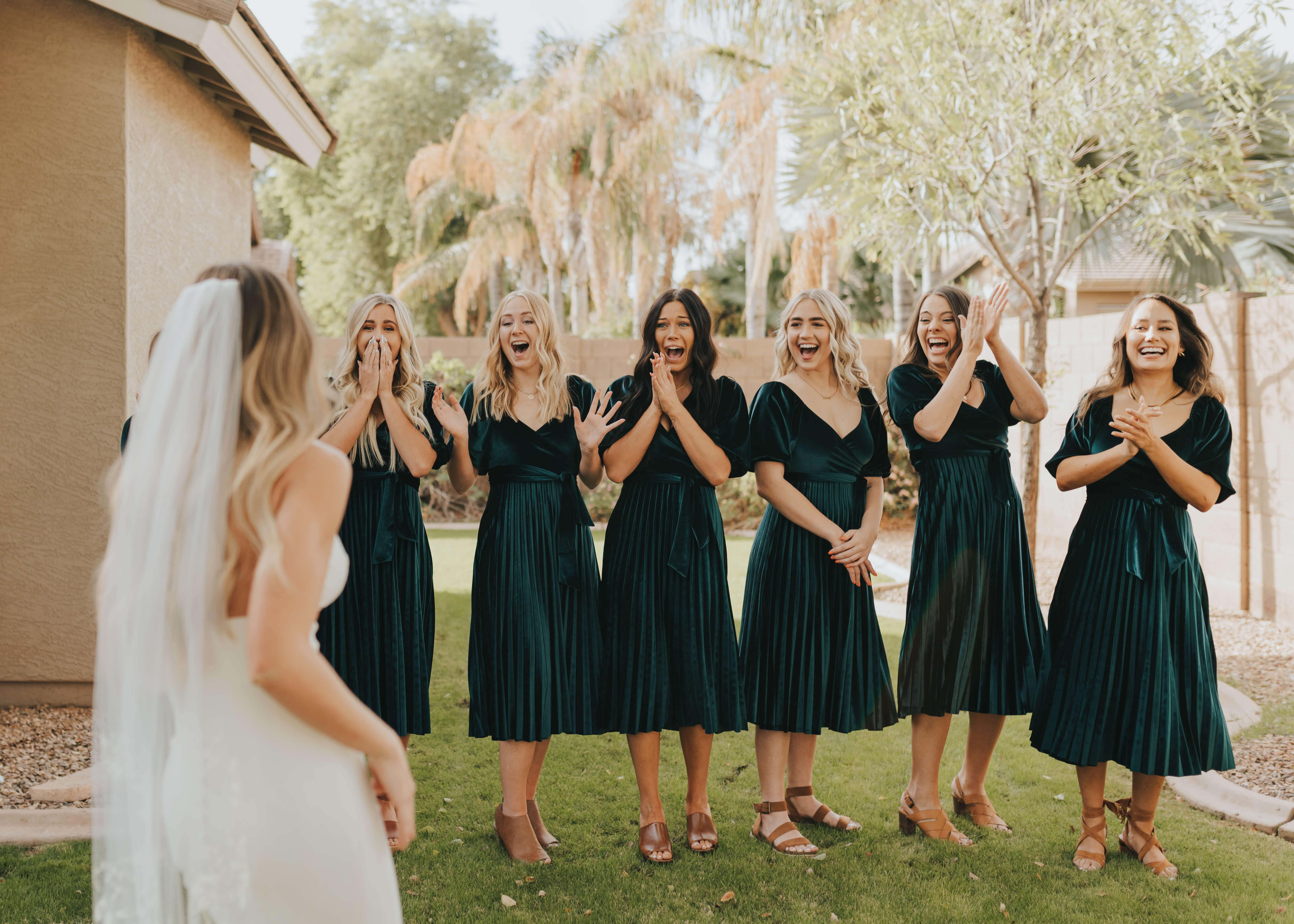bridesmaid dress reveal happy
