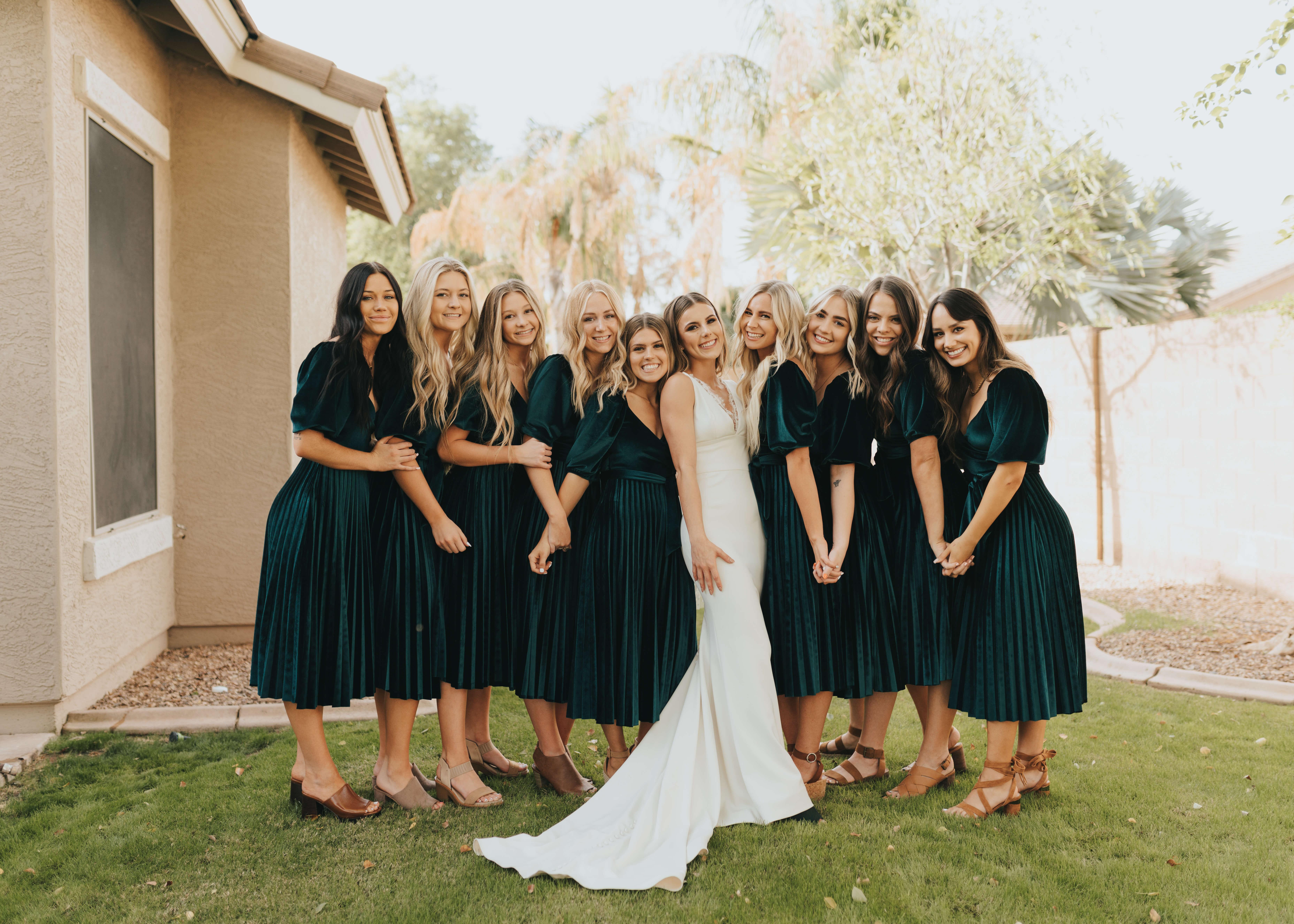 emerald green bridesmaid dress idea with bride photo