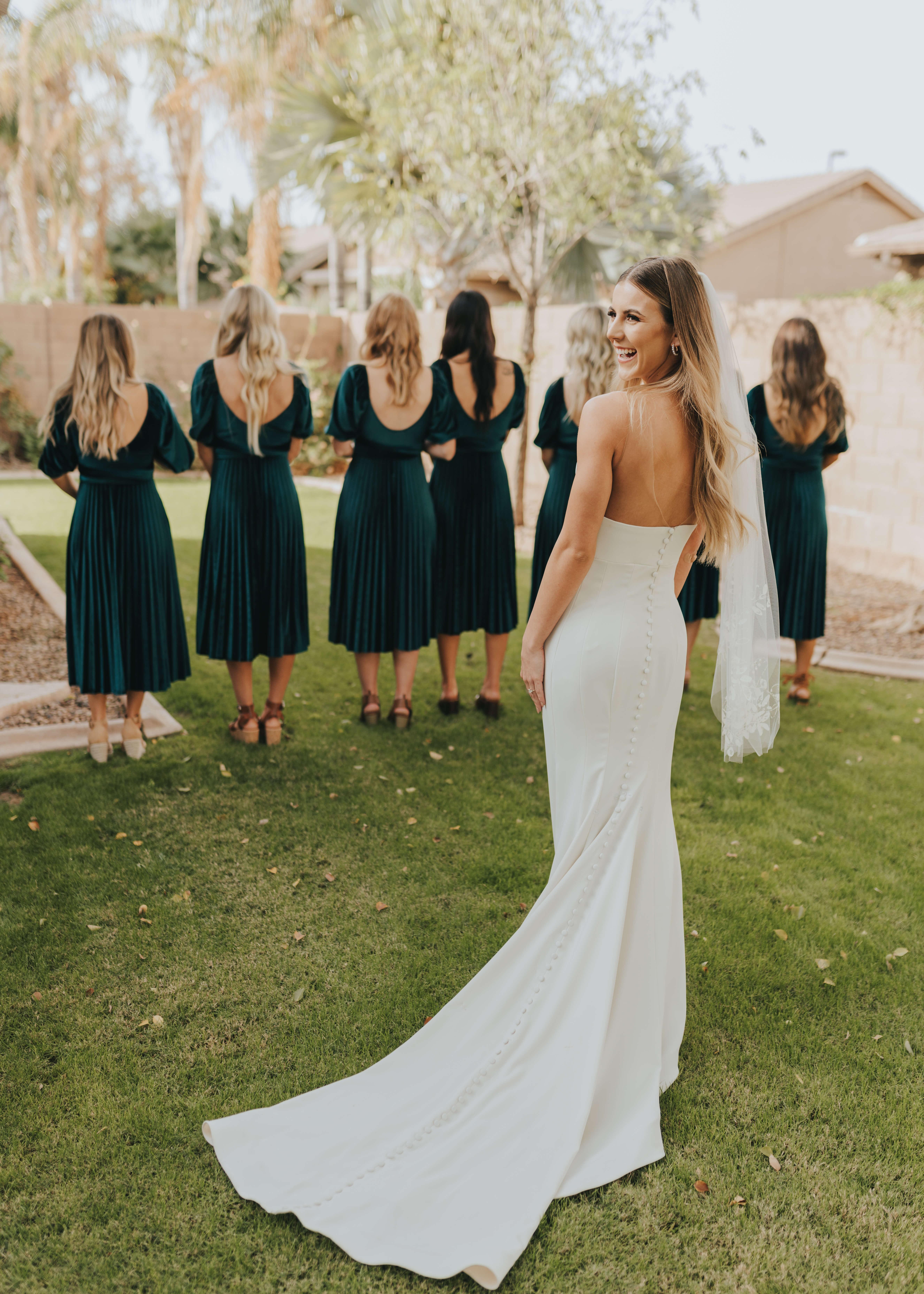bridesmaid wedding dress reveal backless dress
