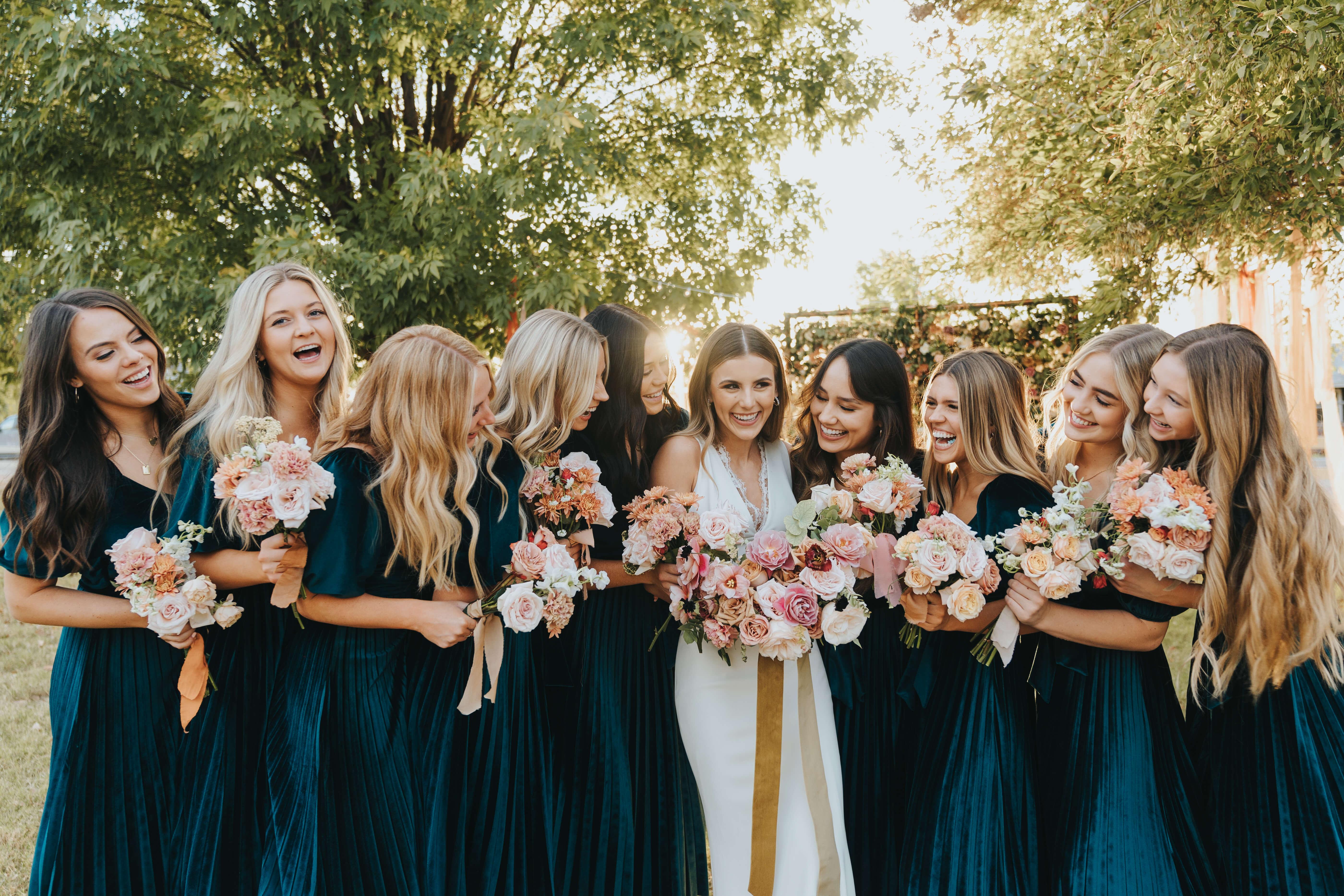 bridesmaid emerald green wedding dresses