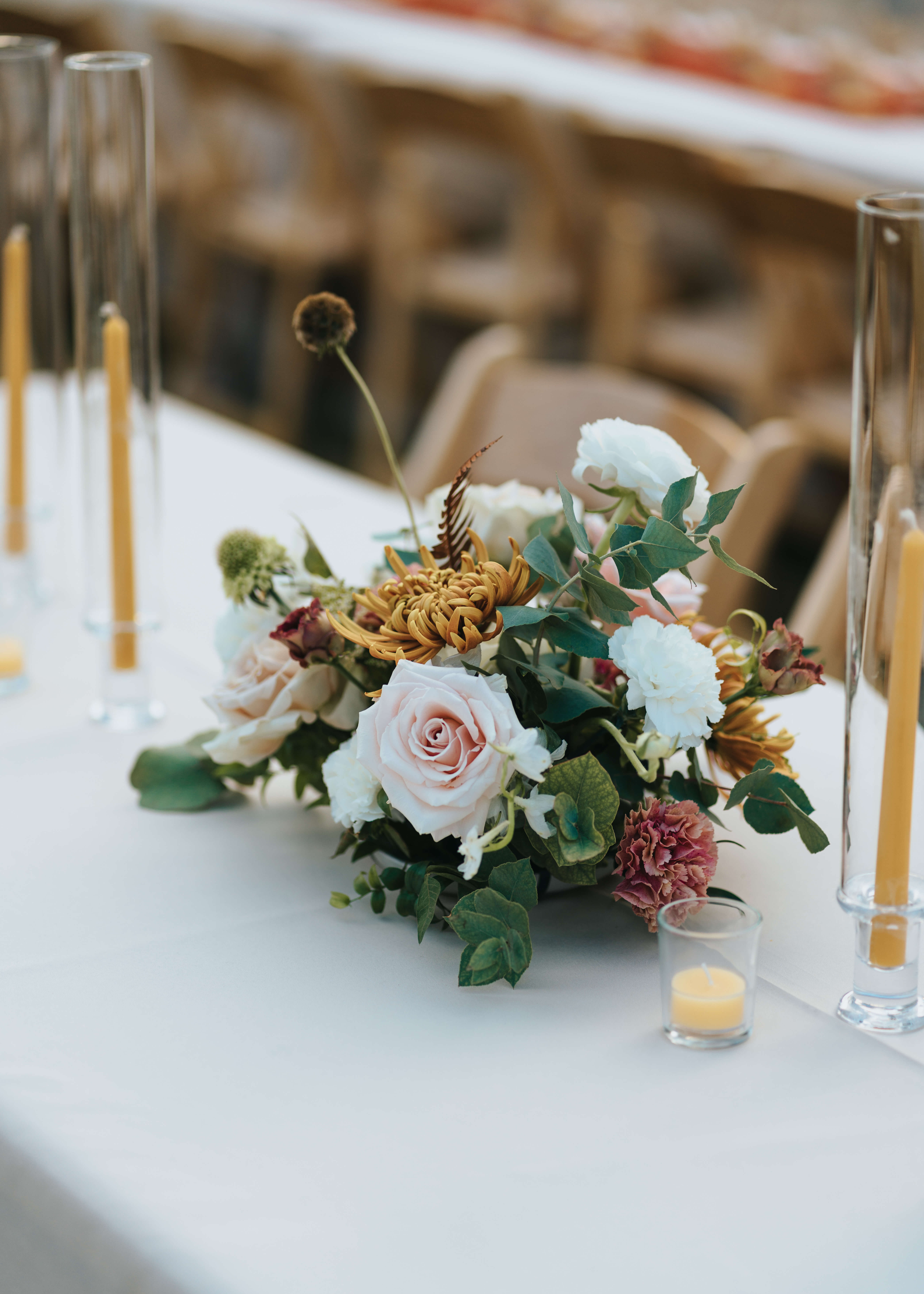 fall table wedding flowers green white and pink