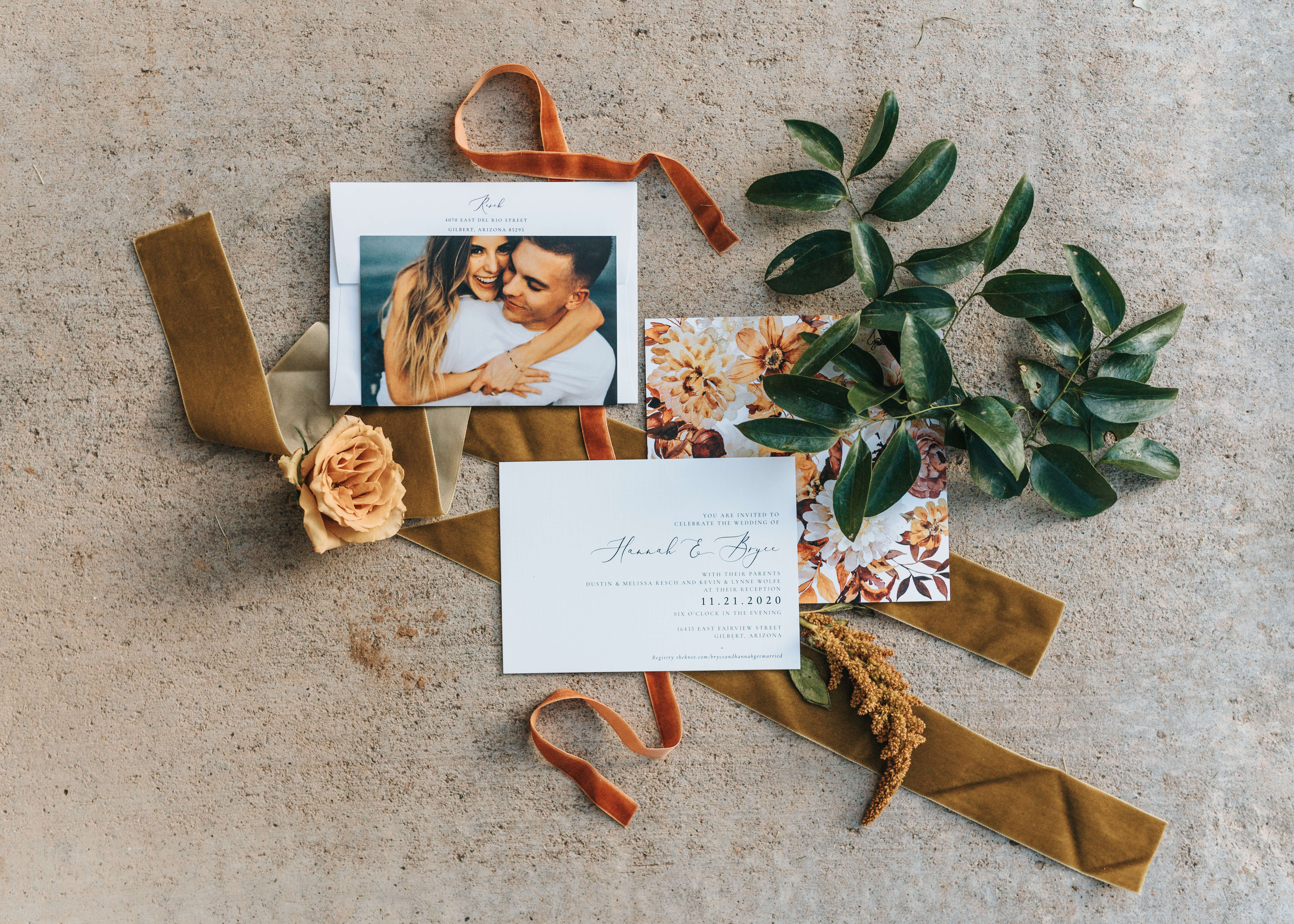 flat lay invite photo inspiration styled with ribbon