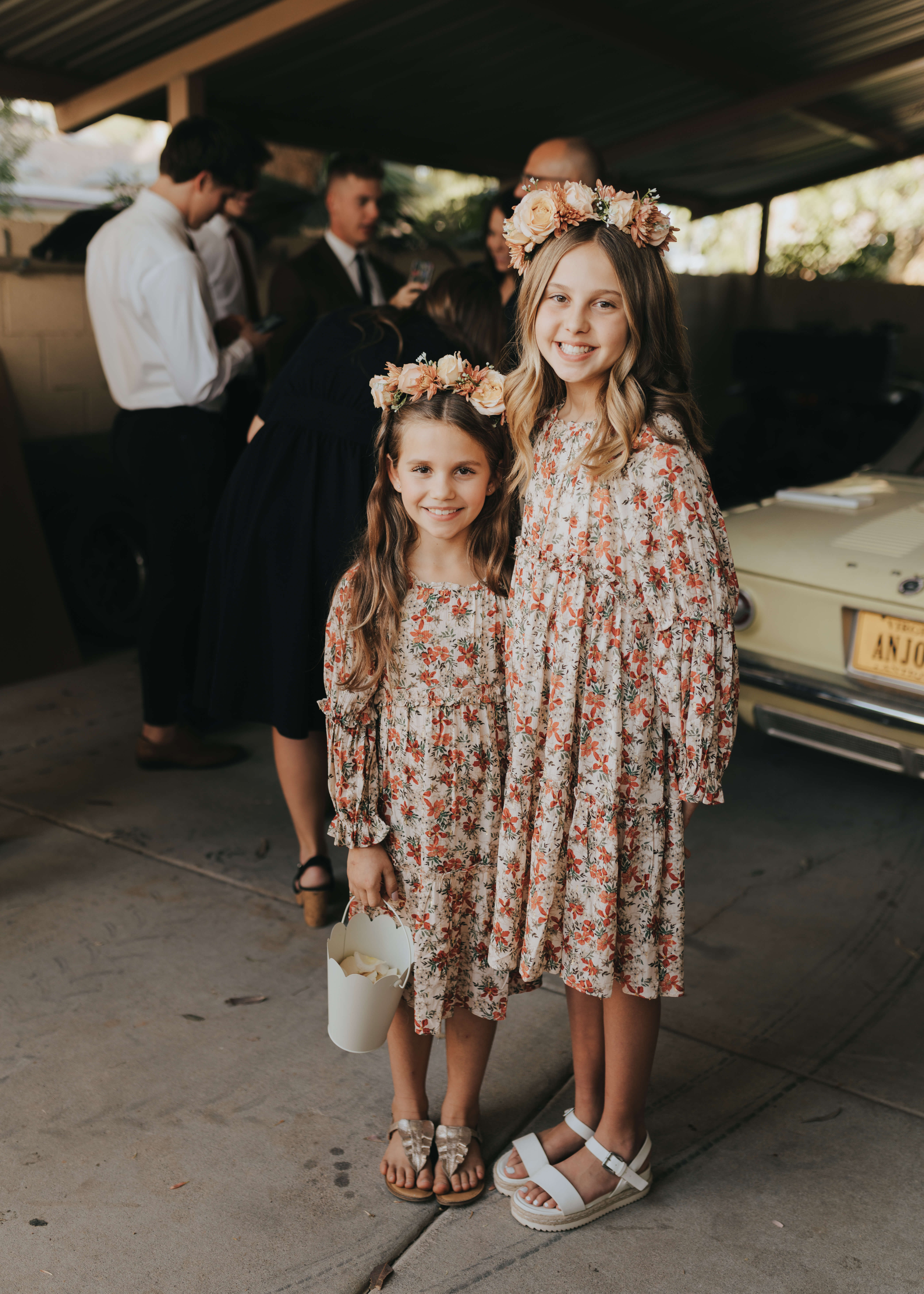 diy pink flower crowns photo of flower girls