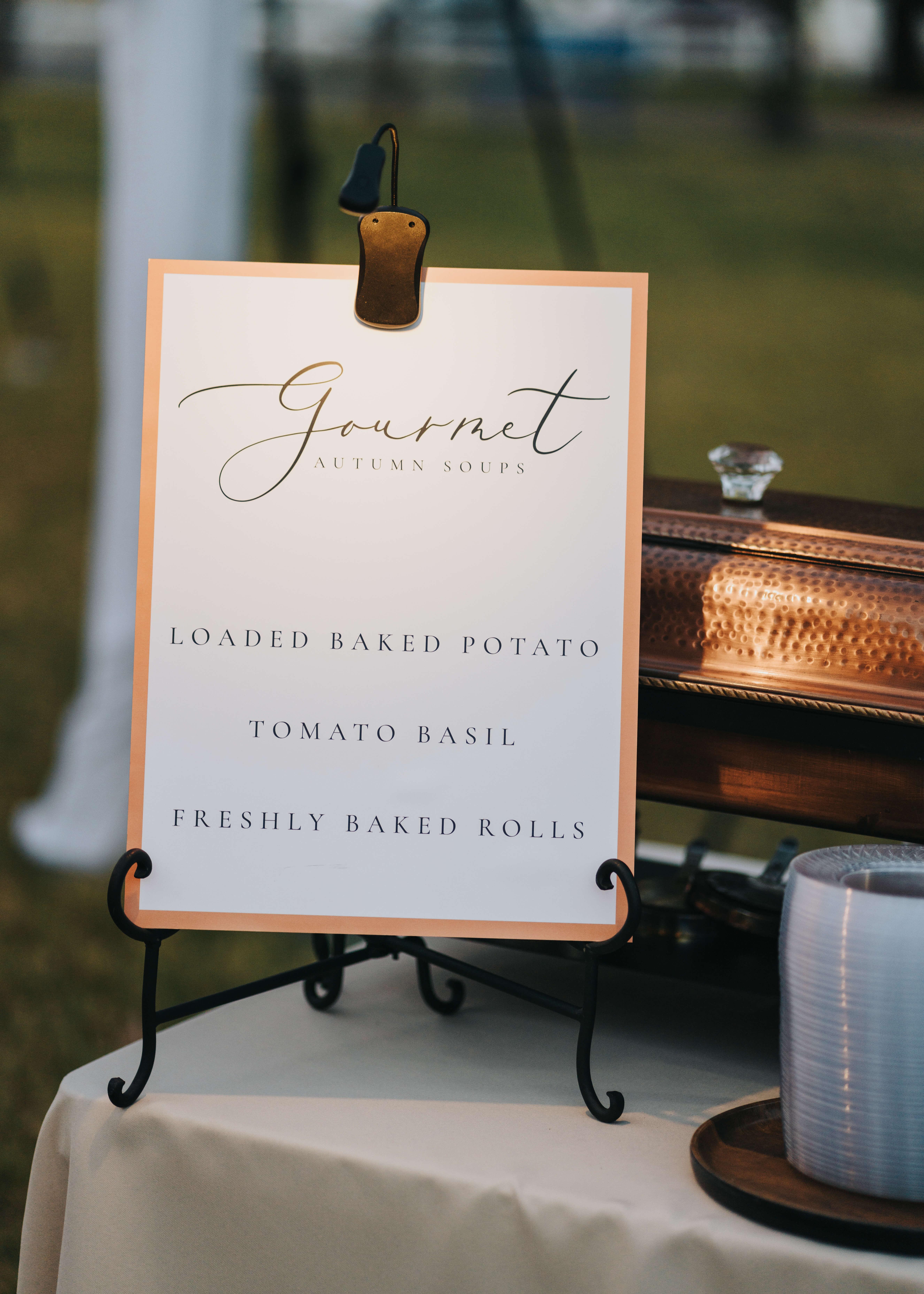 gourmet soup bar at wedding