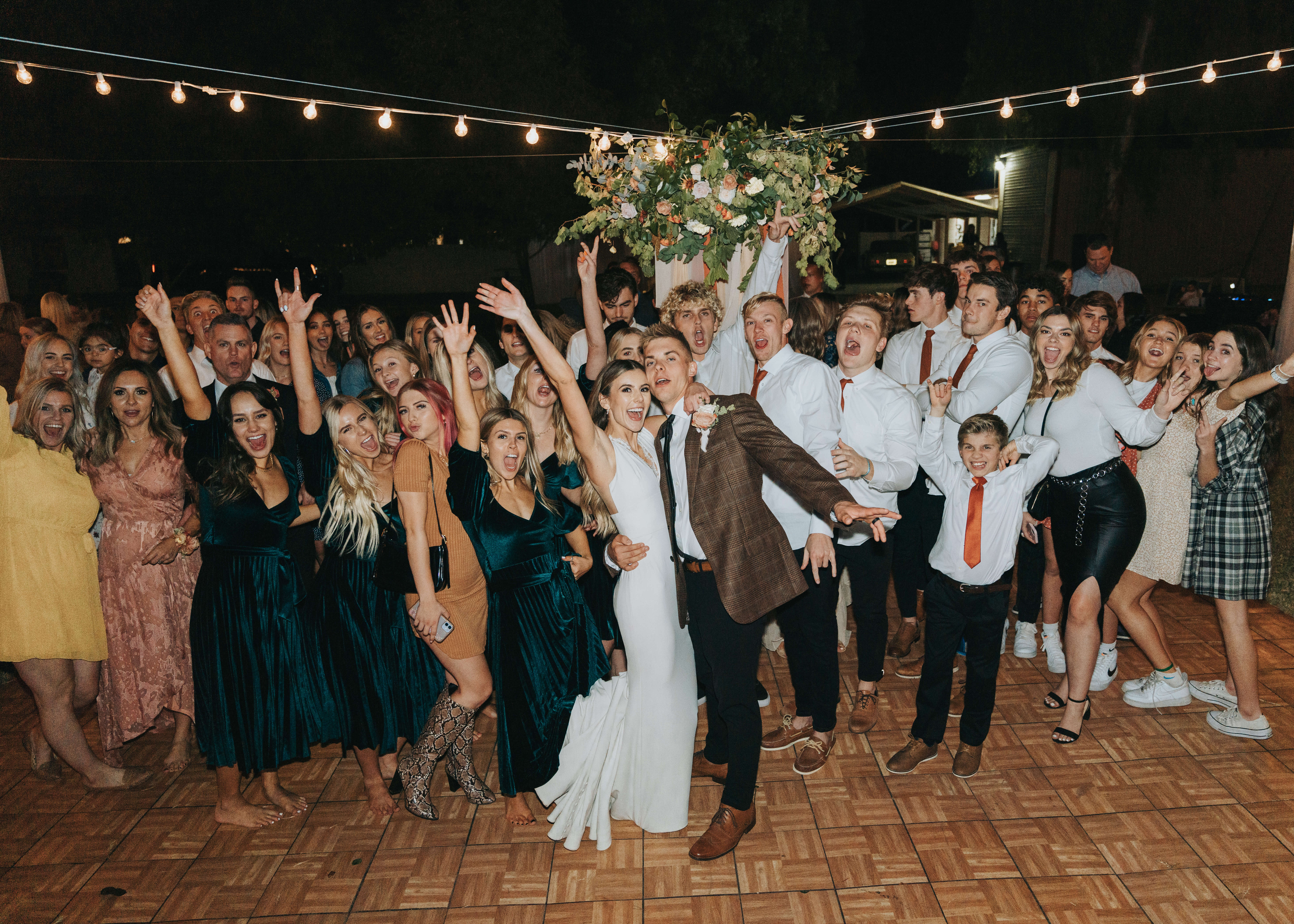 dancing with wedding party photo