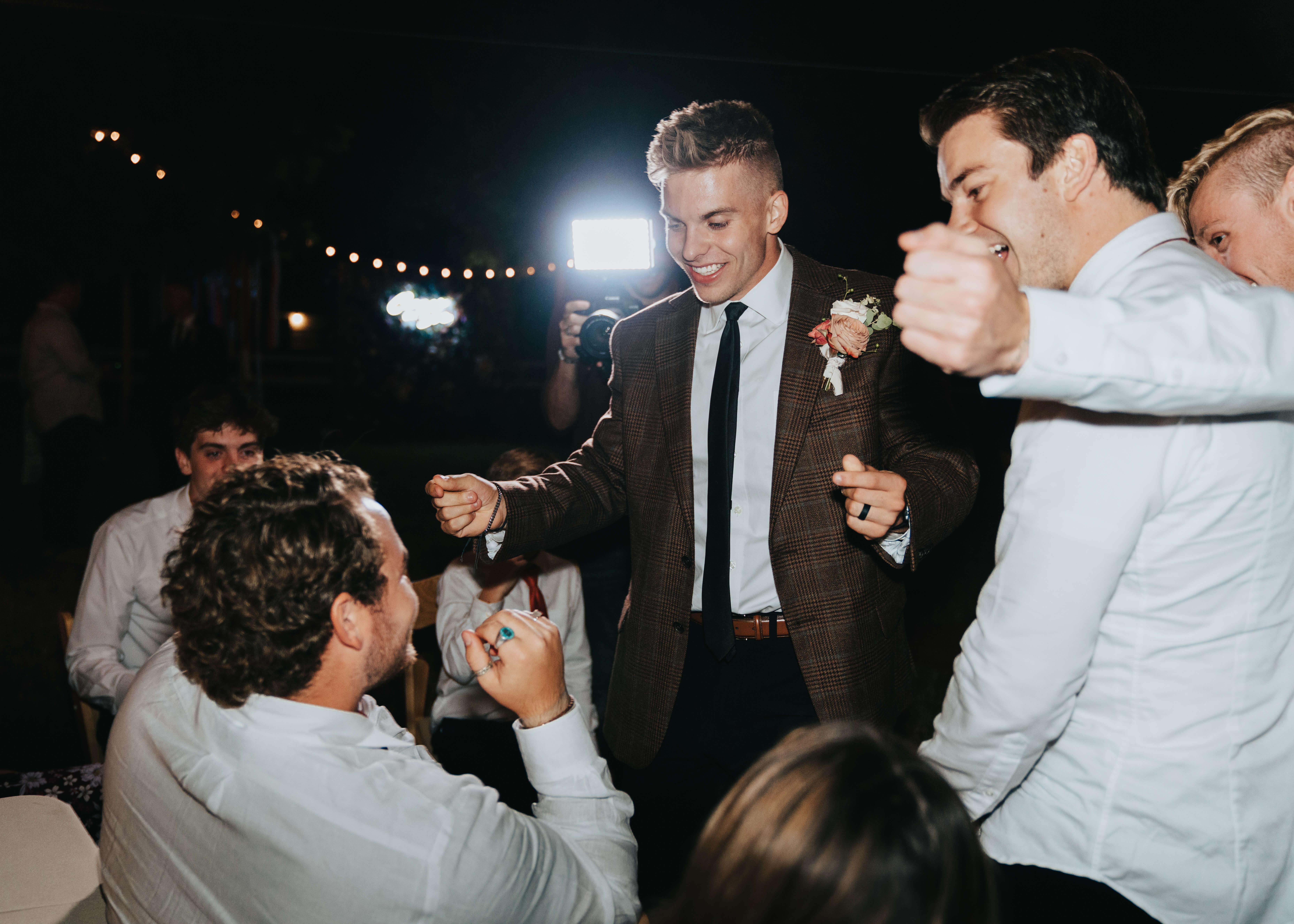 groom dancing crazy photo